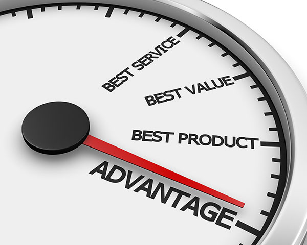 graphic of clock showing words: best service, best value, best product, and advantage