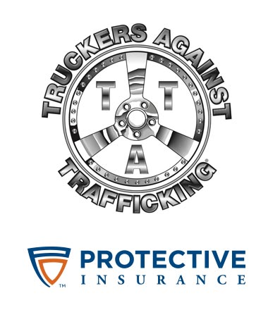 Truckers Against Trafficking and Protective Insurance logos